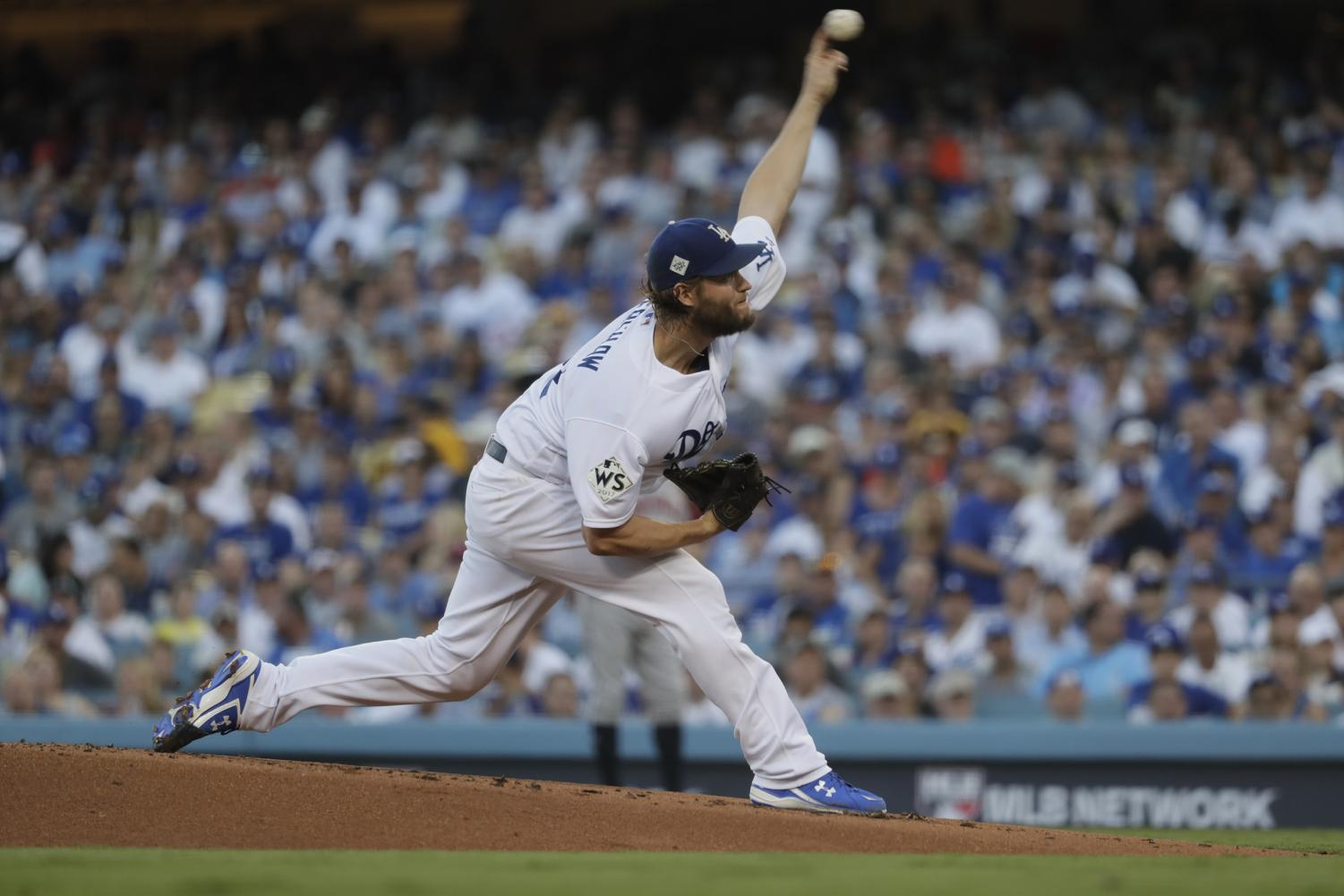 Clayton Kershaw pitches to the Houston Astros during game 1 of the World Series.