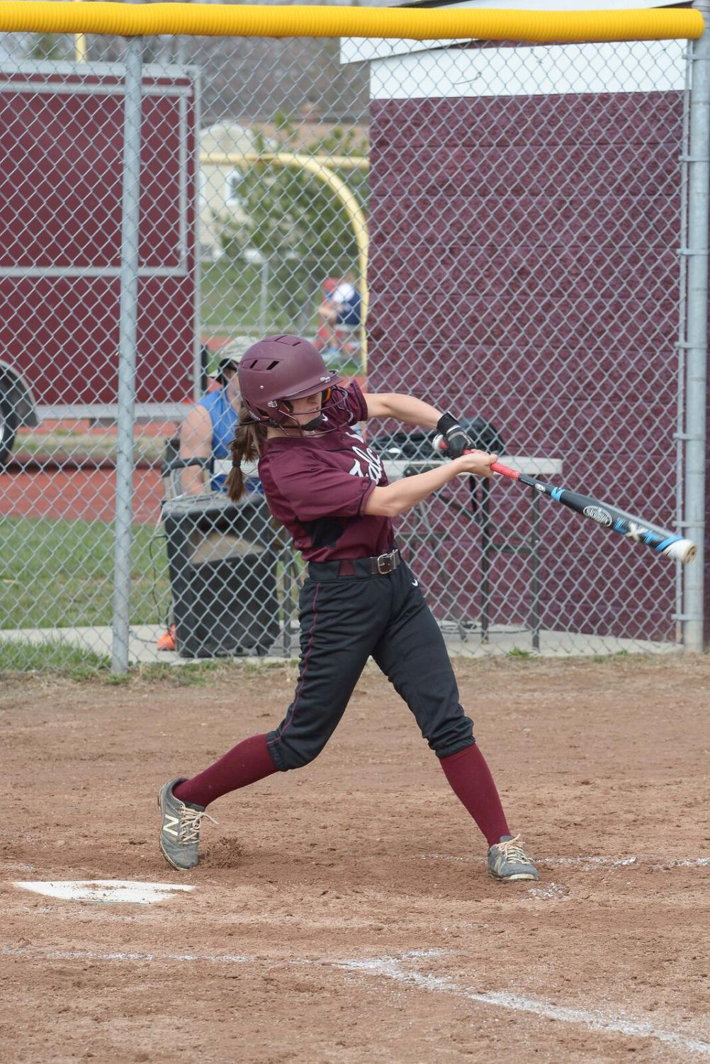 Jackie Nicholson htting a double in A home game last season.
