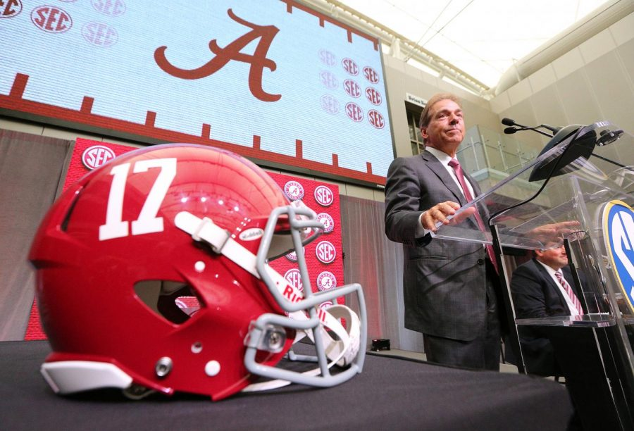 Head+coach+Nick+Saban+addresses+the+media.